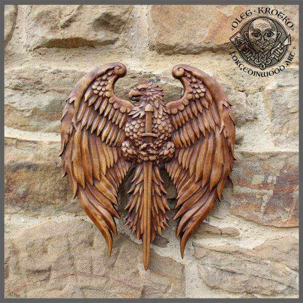Eagle with sword wall art