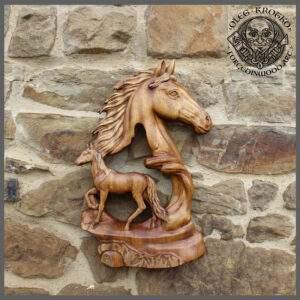 horses wood carving