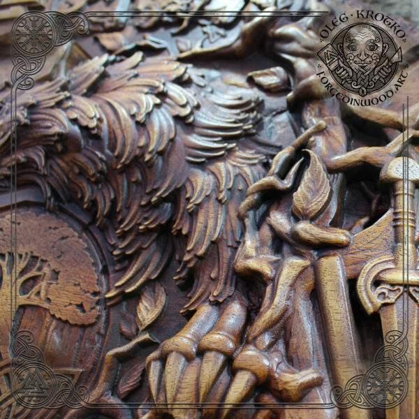 Odin norse mythology wood carvings