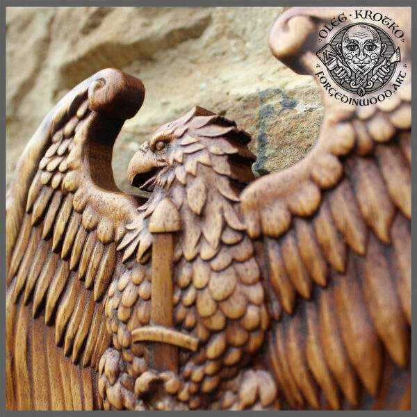 Eagle coat of Arms wood carving
