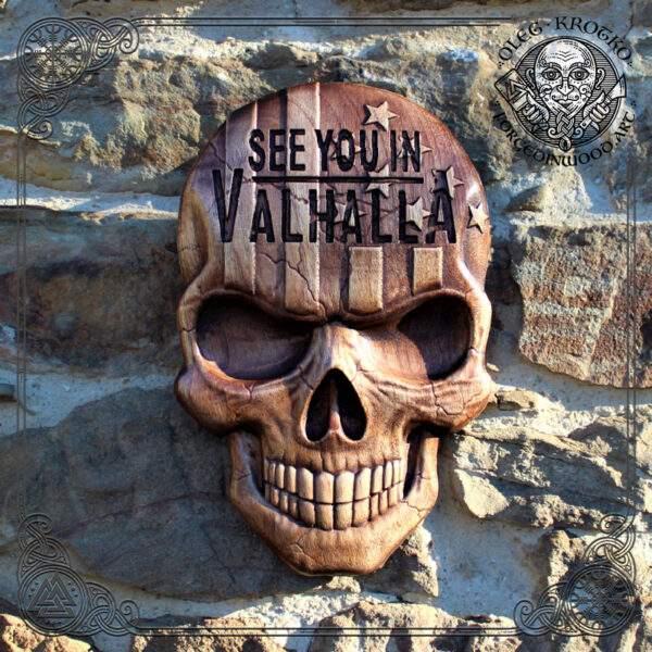 American Flag Skull wood carving