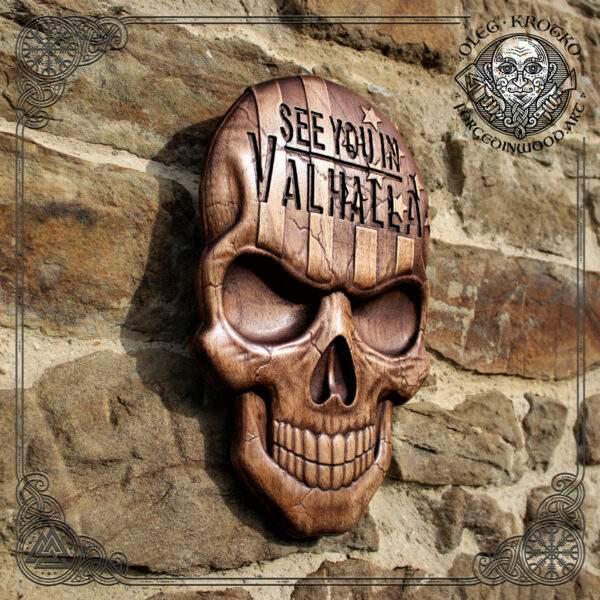 American Flag Skull Plaque