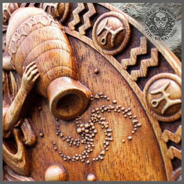 Aquarius Zodiac wood carvings cheap