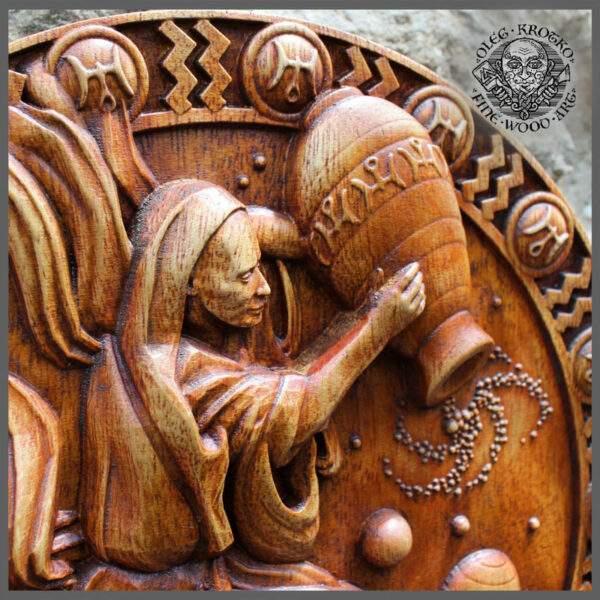 Aquarius Zodiac wood carvings for sale