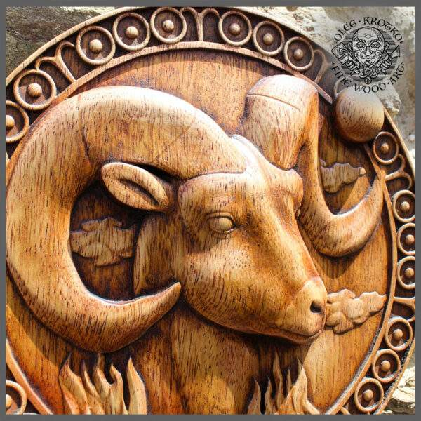 Aries Zodiac Sign wood carving