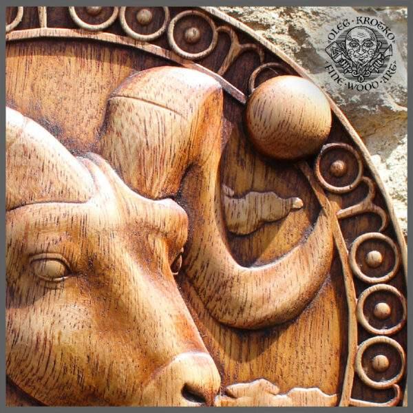 Aries Zodiac Sign wood plaque