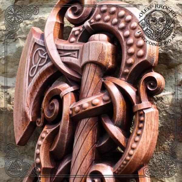 Odin's Axe Vikings Wood Art Decor