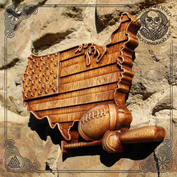 Baseball American Flag carving