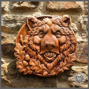Bear wooden carvings for wall