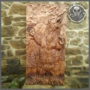 Bear Full Figure Wood Carved Wall Decor