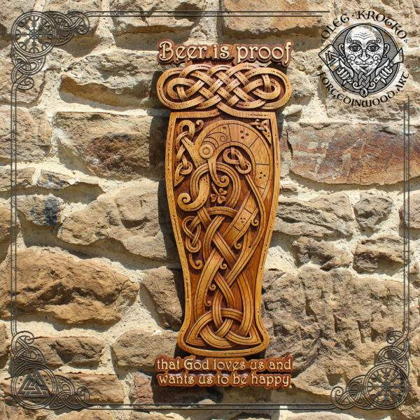 Beer celtic knotwork wood carving