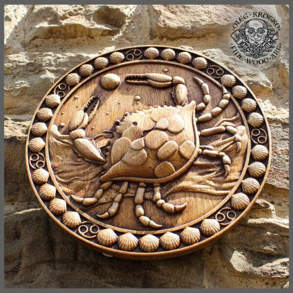 Cancer zodiac wood carving