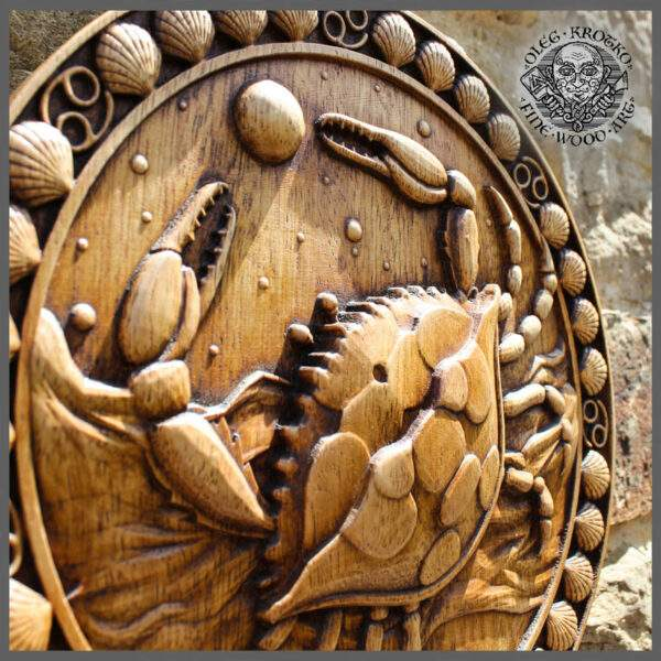 Cancer zodiac sign wood carving