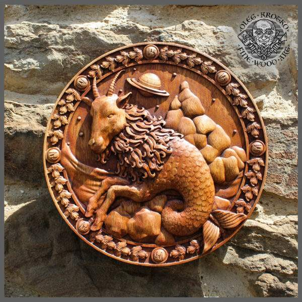 Capricorn Sign carved in wood