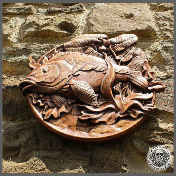 hand carved fish art wall