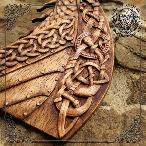 Drakar wood carving