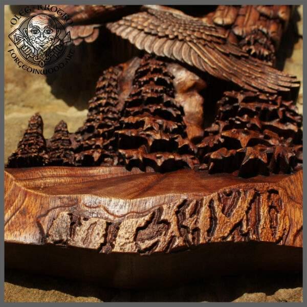 Antique wood carved eagle