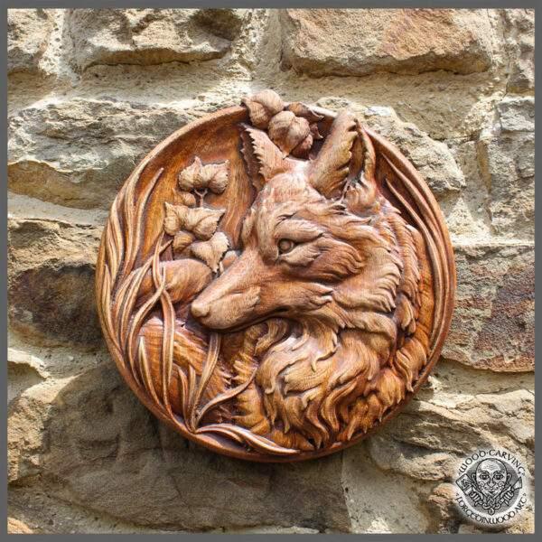 Fox head wooden plaque