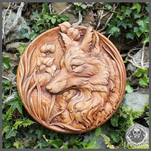 Fox round wooden hanging plaque
