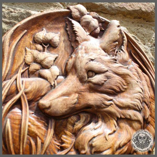 Fox Wood Carved Wall Plaque