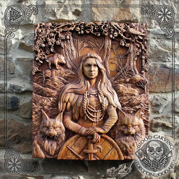 Freya Vikings wood carving
