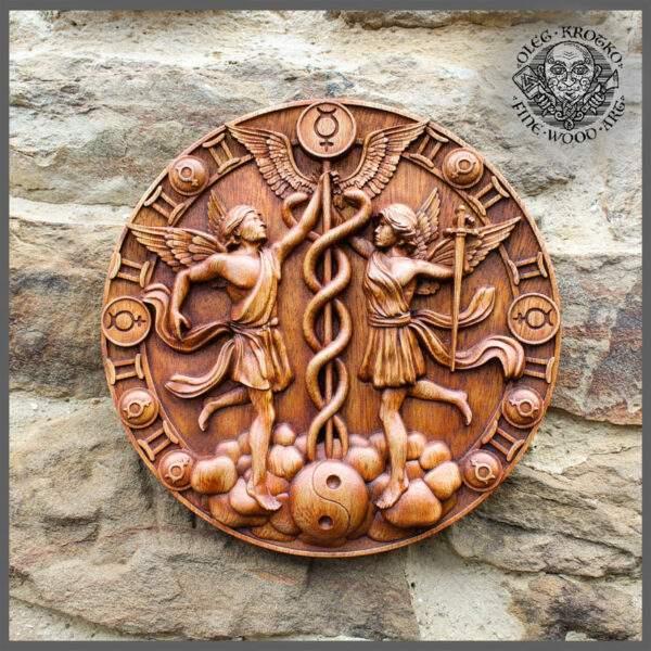 Gemini Zodiac carvings