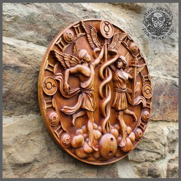 Gemini Zodiac Sign wood carving