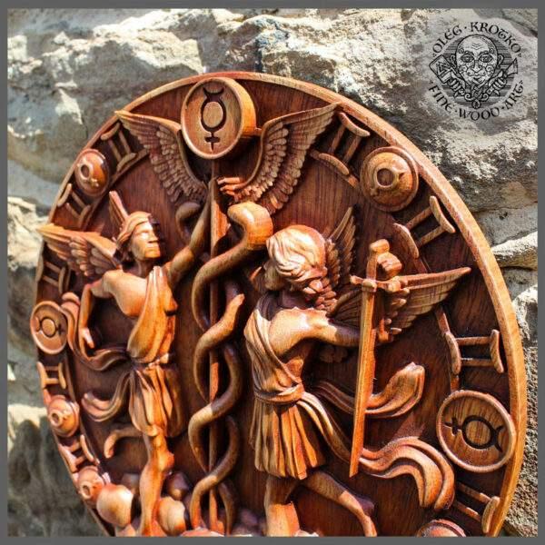 Gemeni zodiac sign wood carving