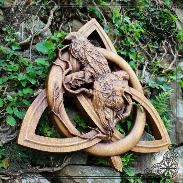 triquetra norse huginn muninn wood carving