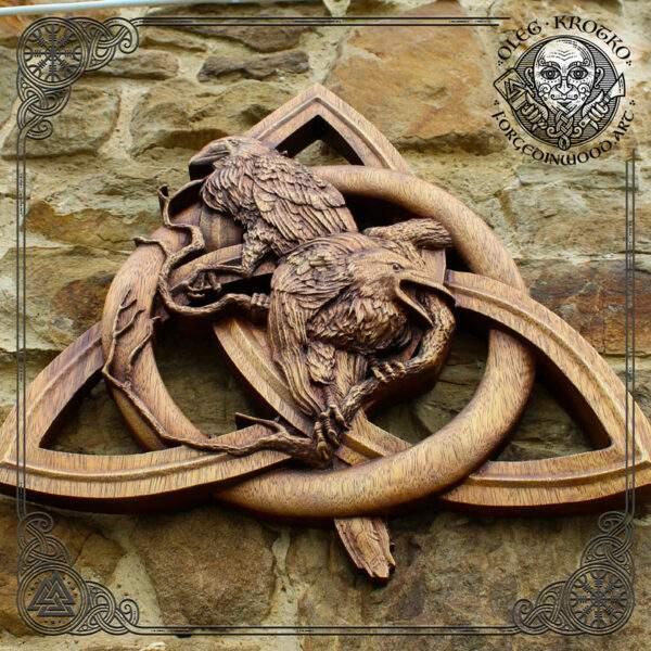 hugin and munin art carving