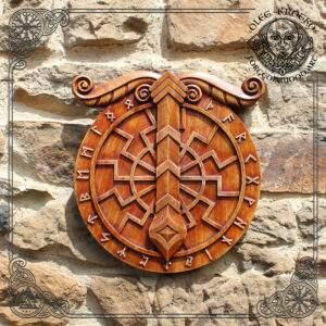 Irminsul Black Sun wood carving