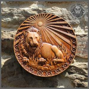 Leo Zodiac Sign wood carving