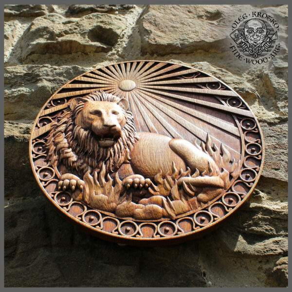 LEO SIGN WOOD CARVING