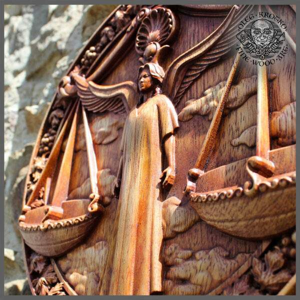 LIBRA ZODIAC SIGN CARVED IN WOOD