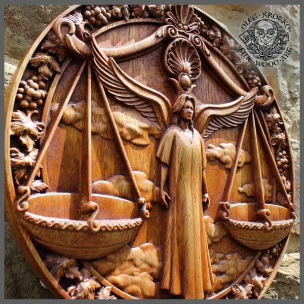 LIBRA horoscope wood carving cheap