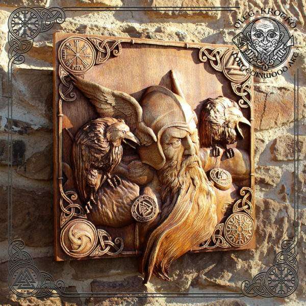 Carved Wood Odin Wall Hanging