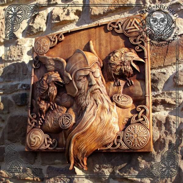 Wooden Viking Artwork tribute to Odin