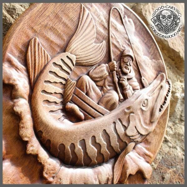 fisherman wood carvings