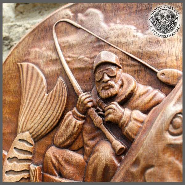 Pike Fish wood carving