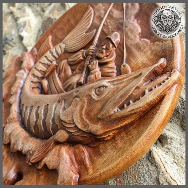 Pike Fishing Wood Carved Wall Plaque