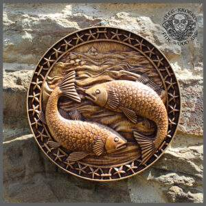 Pisces zodiac sign wood carving