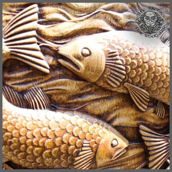 Pisces zodiac sign wood
