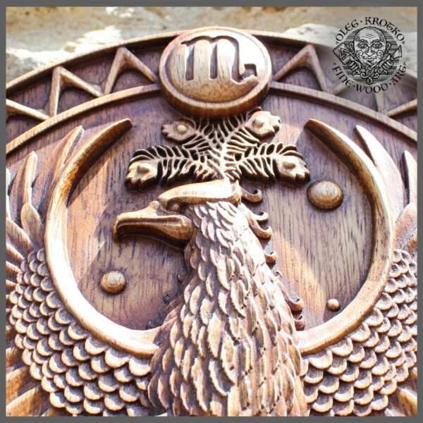 SCORPIO Zodiac Sign wood carving