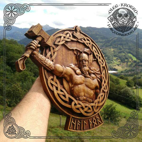Thor wood carved picture