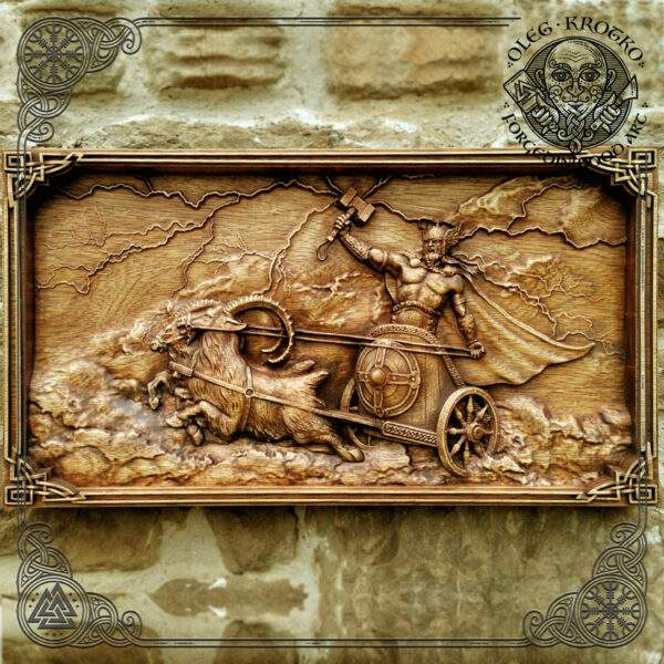 Thor in Chariot wood carving
