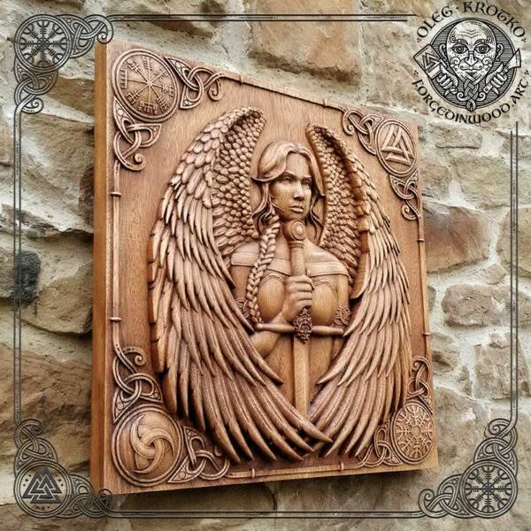 Valkyrie woog carving viking art