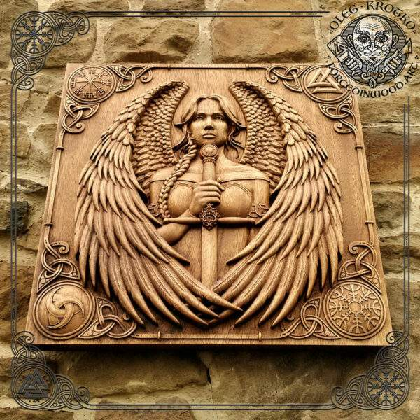 Valkyrie viking woman carved picture