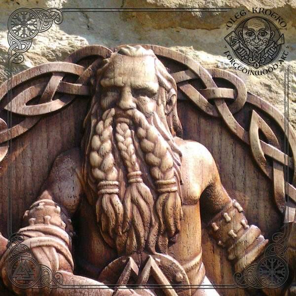 viking style wood carving art wall