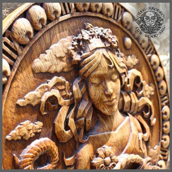 Virgo Zodiac Sign wood carving
