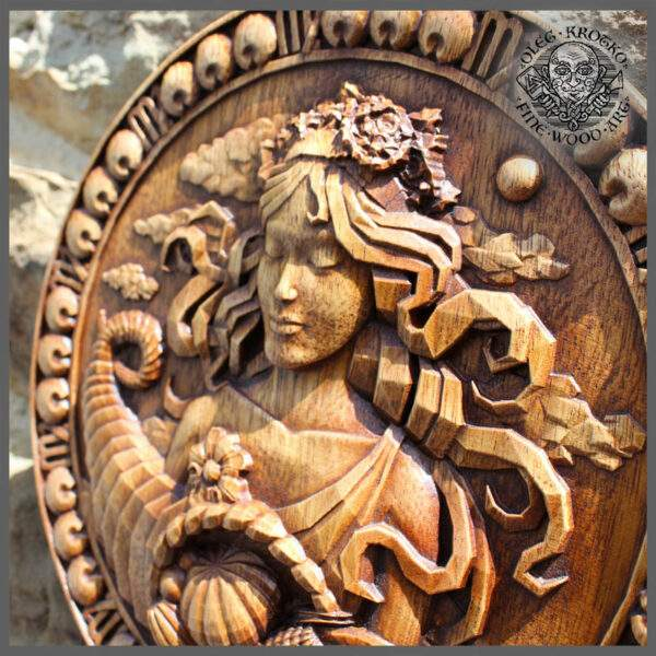 Virgo horoscope wood carving